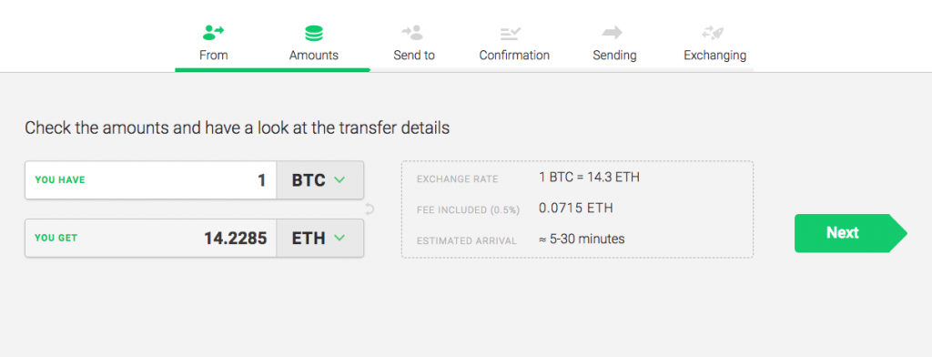 Exchange comparer changelly step 2
